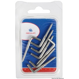 Crochet droit en inox a vis 40 x 3,5 mm Blister 7 pieces